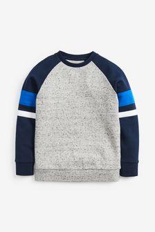 Blue/Grey Long Sleeve Raglan Sweat Top (3-16yrs)