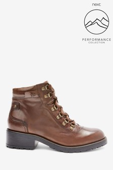Chocolate Performance Water Repellent Clean Leather Hiker Boots