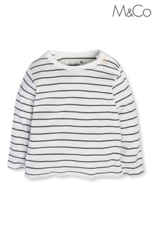M&Co Cream Striped T-Shirt