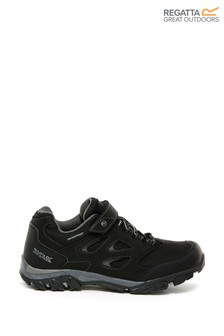 Regatta Black Holcombe IEP Velcro Low Walking Shoes