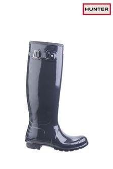 Hunter Grey Original Tall Gloss Wellington Boots