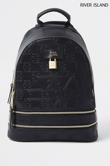 River Island Black Padlock Embossed Backpack