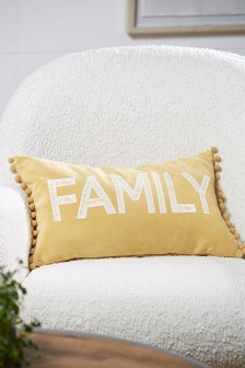 Ochre Yellow Family Word Cushion