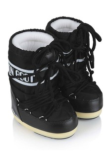 Kids Black Nylon Snow Boots