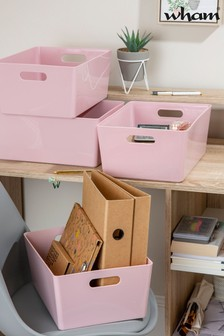 Set of 4 Wham Studio Large Rectangle Deep Plastic Storage Baskets