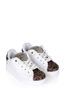 Girls White And Leopard Print Trainers