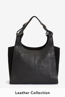 Black Leather Multi Compartment Shopper