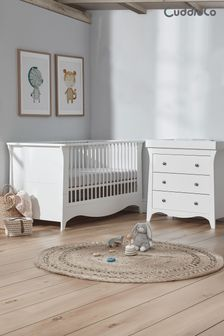 White Cuddleco Clara 2pc Set Cot Bed and 3 Drawer Dresser and Changer