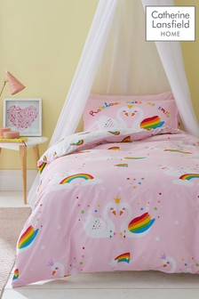 Rainbow Swan Easy Care Duvet Cover and Pillowcase Set by Catherine Lansfield