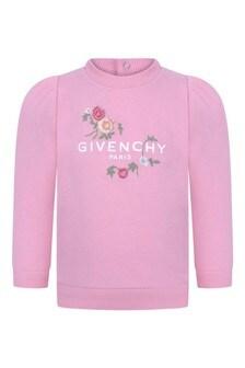 Baby Girls Pink Floral Logo Sweater