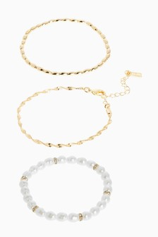 Gold Tone Pearl Effect Bracelet Pack