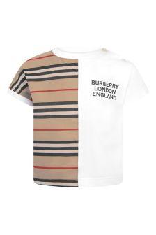 White Baby White And Beige Stripe Cotton T-Shirt