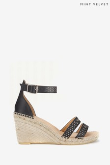 Mint Velvet Black Lily Espadrille Wedges