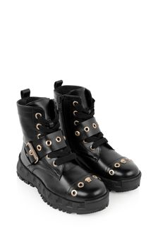 Girls Black Leather Strap Boots