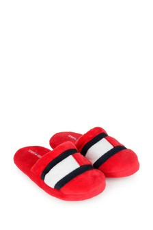 Kids Red Logo Flag Slippers