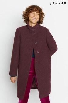 Jigsaw Purple Raw Edge Funnel Neck Coat