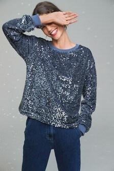 Silver Sequin Sweatshirt