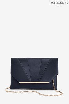 Accessorize Blue Louise Satin Clutch Bag