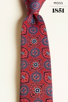 Moss 1851 Red Large Classic Medallion Silk Tie