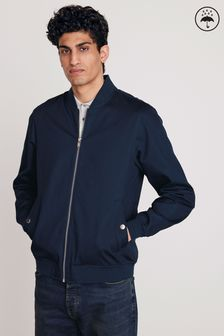 Navy Smart Bomber Jacket With Printed Lining