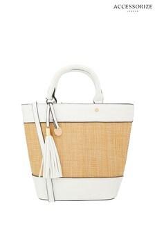 Accessorize White Raffia Stripe Handheld Bag