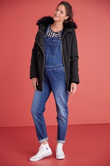 Dark Maternity Denim Dungarees