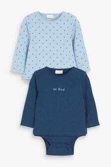 Blue 2 Pack T-Shirt Bodysuits (0mths-3yrs)