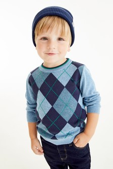 Blue Knitted Argyle Pattern Jumper (3mths-7yrs)