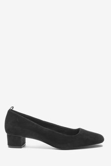 Black Leather Low Block Heel Shoes