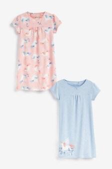 Blue/Pink 2 Pack Unicorn Nighties (2-12yrs)