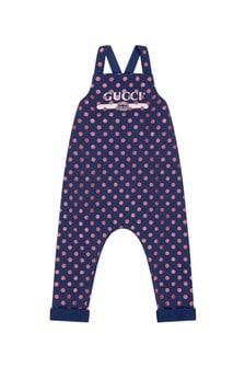 GUCCI Kids Baby Girls Navy Cotton Polka Dots Vintage Logo Dungarees