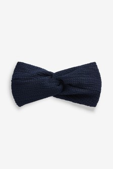 Navy Seersucker Twist Soft Headband