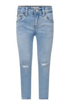 Boys Blue Distressed Denim Skinny Taper Jeans