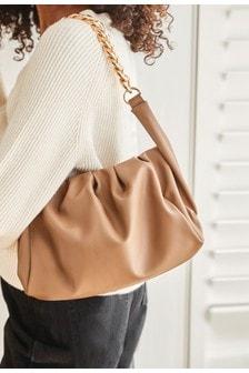 Camel Chunky Chain Slouchy Clutch Bag