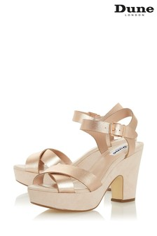 Dune London Jiyla Rose Gold Leather Platform Sandals