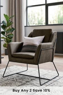 Monza Faux Leather Charcoal Holborn Accent Chair With Black Legs
