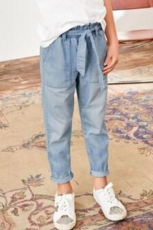 Light Wash Paperbag Waist Tie Jeans (3-16yrs)
