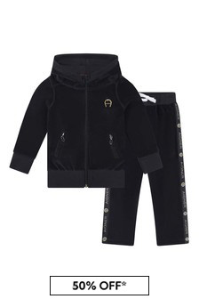Girls Black And Gold Velour Tracksuit