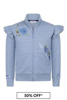 Girls Blue Glittery Rose Zip-Up Top