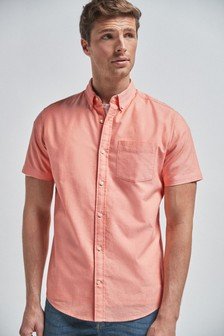 Orange Regular Fit Short Sleeve Oxford Shirt
