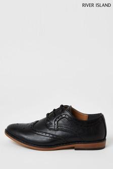 River Island Black Brogue Shoes