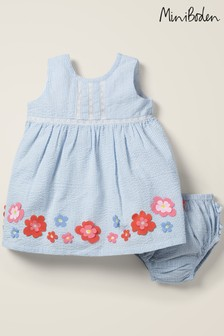 Boden Blue Holiday Appliqué Dress