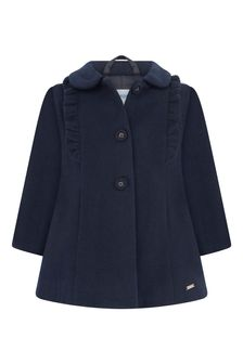 Baby Girls Navy Frilly Trim Coat