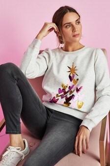 Oatmeal Tree Graphic Christmas Sweatshirt