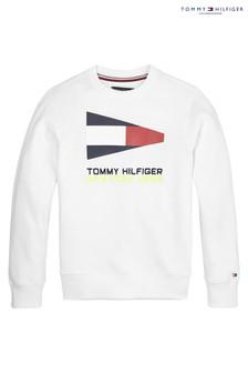 Tommy Hilfiger White Sailing Flag Graphic Sweatshirt