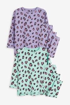 Turquoise/Lilac 2 Pack Animal Longline Pyjamas (3-16yrs)