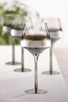 Celeste Metallic Embossed Set of 4 Wine Glasses