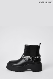 River Island Black Ankle Chain Boots
