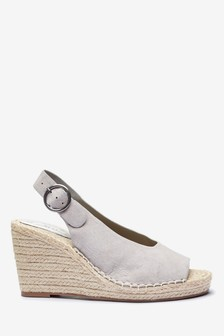 Grey Espadrille Slingback Wedges