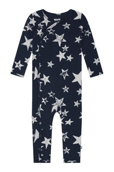 Baby Boys Navy Organic Cotton Star Romper
